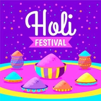 手描きのホーリー祭のお祝いデザイン
