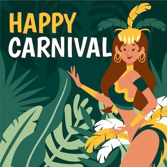 Рисованная бразильская карнавальная тема с танцовщицей