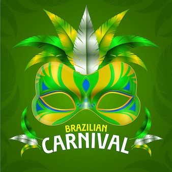 Реалистичный бразильский карнавал с зелено-желтой маской
