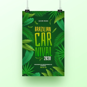 テンプレートの現実的なブラジルカーニバルチラシテーマ