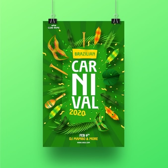 Реалистичная бразильская концепция плаката карнавала для шаблона