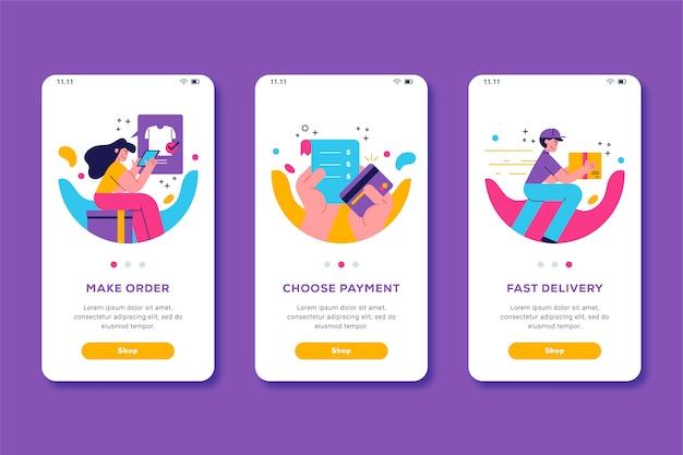 オンラインのオンボーディングアプリの画面デザインを購入する