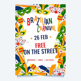 Плоский дизайн бразильского карнавала партии плакат шаблон