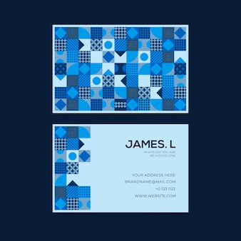 名刺テンプレートの抽象的なブルーのテーマ