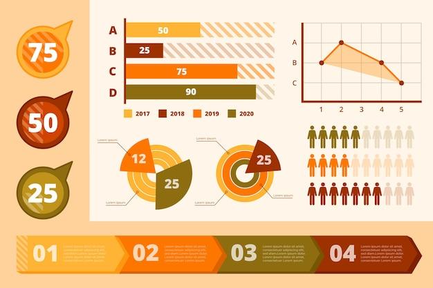 レトロな色のフラットデザインインフォグラフィック