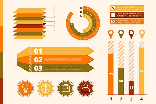 Плоский дизайн инфографики с темой ретро цвета