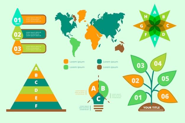 Экология инфографики с ретро-цвета