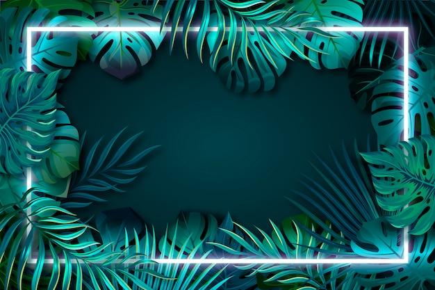 ネオンフレームと現実的な緑の葉
