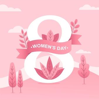 ピンクの木と葉を持つ女性の日