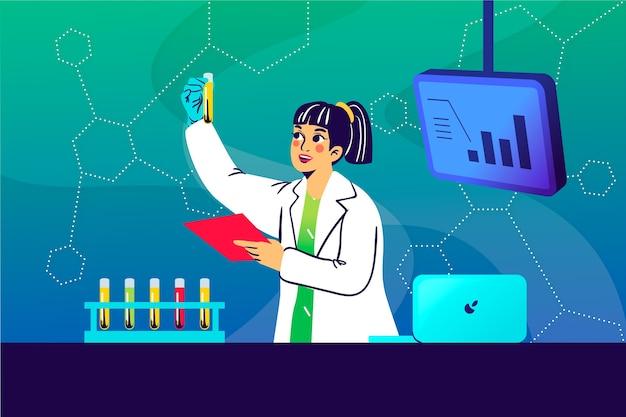 科学者の女性のカラフルなイラスト