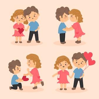 イラストのバレンタインデーカップルコレクションテーマ