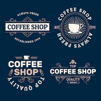 Кофейня ретро логотип коллекции