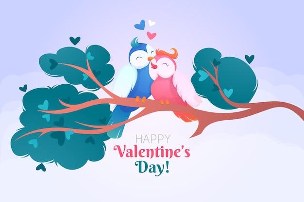 手描き鳥とバレンタインデーの背景