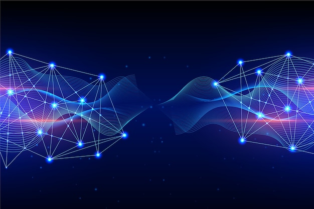 左と右の技術粒子背景コンセプト