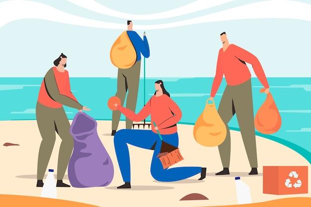 Люди чистят пляж и перерабатывают