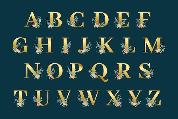 Золотой алфавит с дизайном золотых цветов
