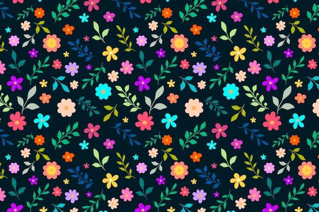 色とりどりの頭が変な花柄プリントの背景