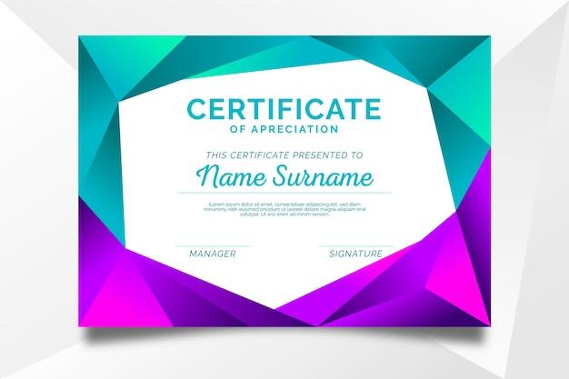 Красочный абстрактный геометрический шаблон сертификата