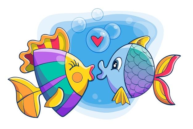 Милая пара животных на день святого валентина с рыбой