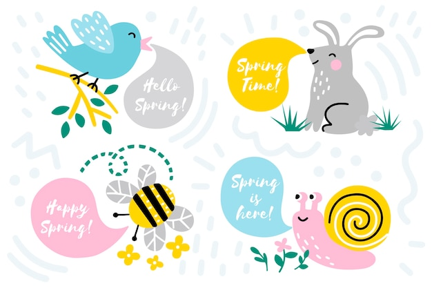 手描き春バッジコレクション