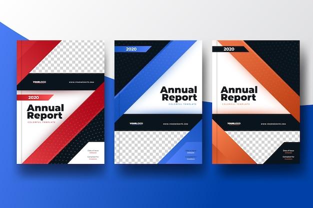 写真とカラフルな抽象的な年次報告書テンプレート