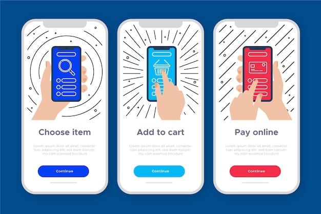 購入のためのオンボーディングアプリのコンセプト