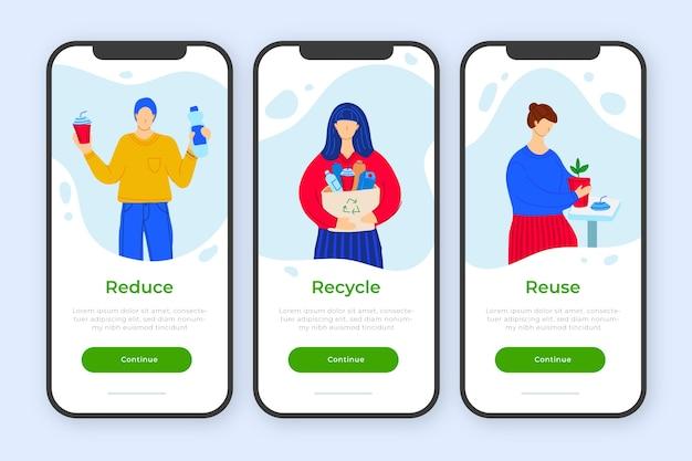 リサイクルのためのオンボーディングアプリのコンセプト