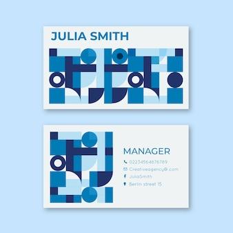Квадраты и круги абстрактный шаблон визитной карточки