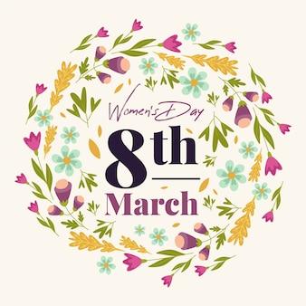 花を持つ女性の日の概念