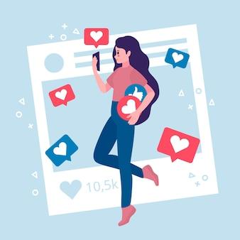 Иллюстрация с человеком, увлеченным дизайном в социальных сетях