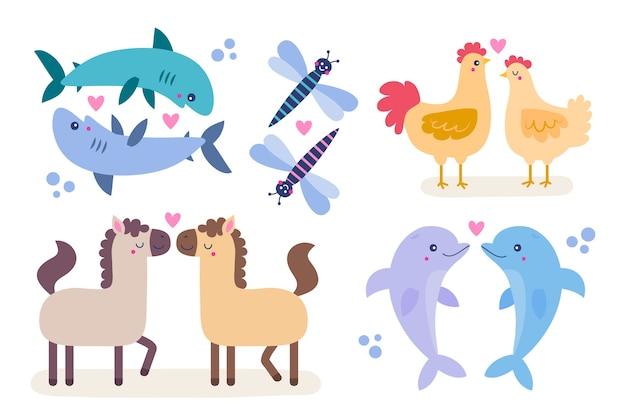 かわいいバレンタインの日の動物のカップルのテーマ
