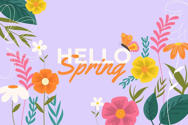 Плоский весенний красочный фон