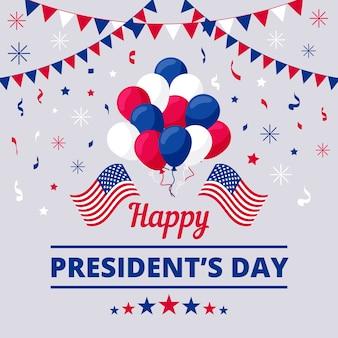 Плоский президентский день с гирляндами и воздушными шарами