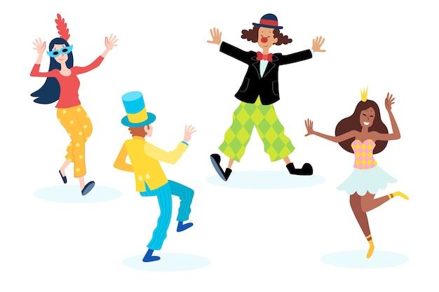 カーニバルで楽しんで踊る人々