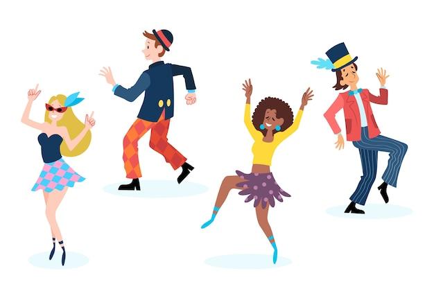 Коллекция карнавальных танцовщиц на белом фоне