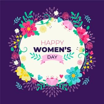 花を持つ女性の日のお祝いのテーマ