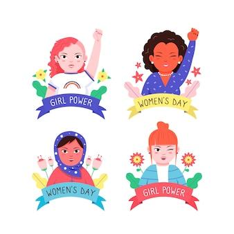 女性の日のラベルコレクションテーマの描画