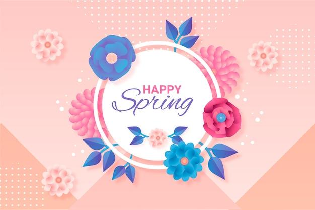 紙のスタイルで春の背景