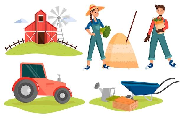Иллюстрация с концепцией сельского хозяйства