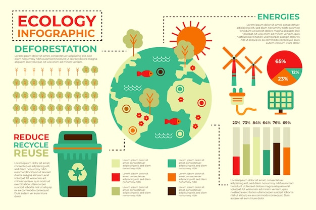Экология инфографики с ретро-цвета в плоском дизайне