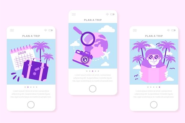 携帯電話用のオンボーディングアプリ画面を旅行する