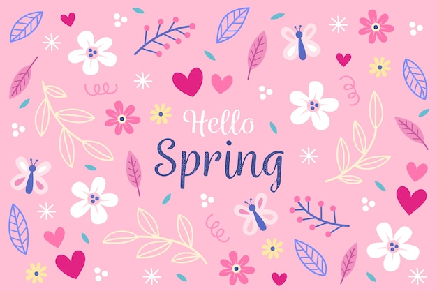 手描きの春の花の壁紙