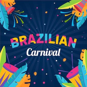 手描きのブラジルのカーニバルのカラフルなイラスト