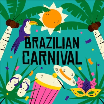 Ручной обращается бразильский карнавал иллюстрация
