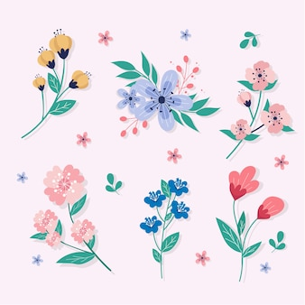 平らな春の花のコレクション