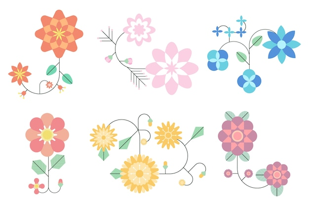 Коллекция весенних цветов в плоском дизайне