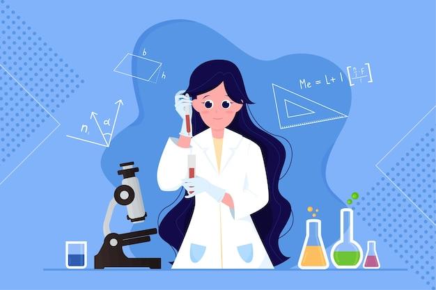 女性科学者のイラスト