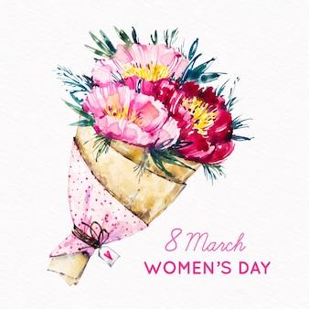ピンクの花の女性の日の水彩ブーケ