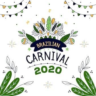 ブラジルのカーニバルのお祝いのための手描きのテーマ