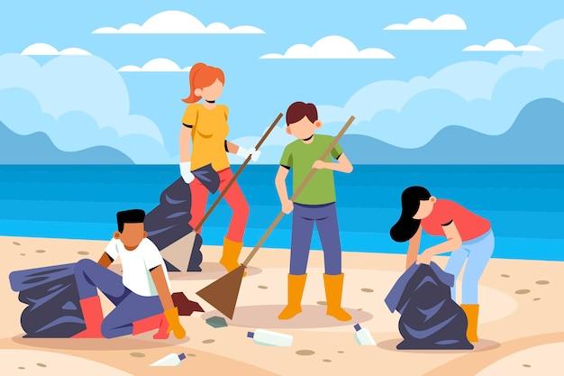 一緒にビーチを掃除する人々